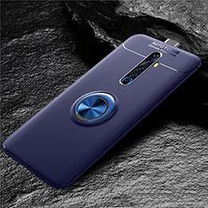 Silikon Hülle Handyhülle Ultra Dünn Schutzhülle Tasche Silikon mit Magnetisch Fingerring Ständer für Oppo Reno2 Z Blau