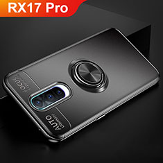Silikon Hülle Handyhülle Ultra Dünn Schutzhülle Tasche Silikon mit Magnetisch Fingerring Ständer für Oppo RX17 Pro Schwarz