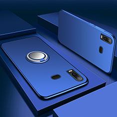 Silikon Hülle Handyhülle Ultra Dünn Schutzhülle Tasche Silikon mit Magnetisch Fingerring Ständer für Samsung Galaxy A6s Blau