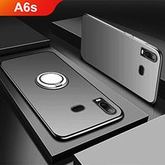 Silikon Hülle Handyhülle Ultra Dünn Schutzhülle Tasche Silikon mit Magnetisch Fingerring Ständer für Samsung Galaxy A6s Schwarz