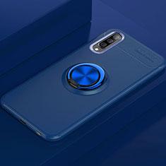 Silikon Hülle Handyhülle Ultra Dünn Schutzhülle Tasche Silikon mit Magnetisch Fingerring Ständer für Samsung Galaxy A70 Blau