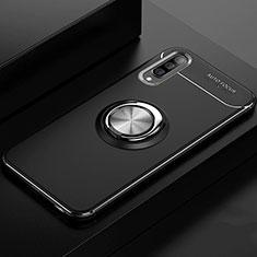 Silikon Hülle Handyhülle Ultra Dünn Schutzhülle Tasche Silikon mit Magnetisch Fingerring Ständer für Samsung Galaxy A70 Schwarz