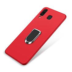 Silikon Hülle Handyhülle Ultra Dünn Schutzhülle Tasche Silikon mit Magnetisch Fingerring Ständer für Samsung Galaxy A8 Star Rot