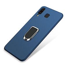 Silikon Hülle Handyhülle Ultra Dünn Schutzhülle Tasche Silikon mit Magnetisch Fingerring Ständer für Samsung Galaxy A9 Star SM-G8850 Blau