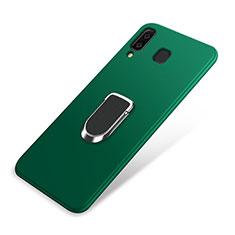 Silikon Hülle Handyhülle Ultra Dünn Schutzhülle Tasche Silikon mit Magnetisch Fingerring Ständer für Samsung Galaxy A9 Star SM-G8850 Grün