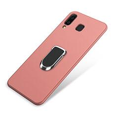 Silikon Hülle Handyhülle Ultra Dünn Schutzhülle Tasche Silikon mit Magnetisch Fingerring Ständer für Samsung Galaxy A9 Star SM-G8850 Rosa
