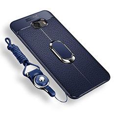 Silikon Hülle Handyhülle Ultra Dünn Schutzhülle Tasche Silikon mit Magnetisch Fingerring Ständer für Samsung Galaxy C9 Pro C9000 Blau