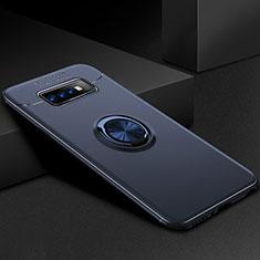 Silikon Hülle Handyhülle Ultra Dünn Schutzhülle Tasche Silikon mit Magnetisch Fingerring Ständer für Samsung Galaxy S10 Plus Blau