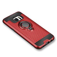 Silikon Hülle Handyhülle Ultra Dünn Schutzhülle Tasche Silikon mit Magnetisch Fingerring Ständer für Samsung Galaxy S7 G930F G930FD Rot