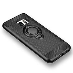 Silikon Hülle Handyhülle Ultra Dünn Schutzhülle Tasche Silikon mit Magnetisch Fingerring Ständer für Samsung Galaxy S7 G930F G930FD Schwarz