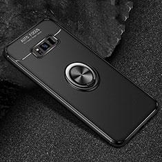 Silikon Hülle Handyhülle Ultra Dünn Schutzhülle Tasche Silikon mit Magnetisch Fingerring Ständer für Samsung Galaxy S8 Plus Schwarz