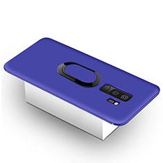 Silikon Hülle Handyhülle Ultra Dünn Schutzhülle Tasche Silikon mit Magnetisch Fingerring Ständer für Samsung Galaxy S9 Plus Blau