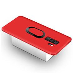 Silikon Hülle Handyhülle Ultra Dünn Schutzhülle Tasche Silikon mit Magnetisch Fingerring Ständer für Samsung Galaxy S9 Plus Rot