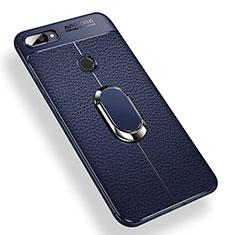 Silikon Hülle Handyhülle Ultra Dünn Schutzhülle Tasche Silikon mit Magnetisch Fingerring Ständer für Xiaomi Mi 8 Lite Blau
