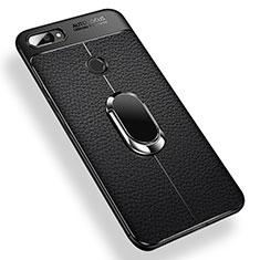 Silikon Hülle Handyhülle Ultra Dünn Schutzhülle Tasche Silikon mit Magnetisch Fingerring Ständer für Xiaomi Mi 8 Lite Schwarz