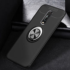 Silikon Hülle Handyhülle Ultra Dünn Schutzhülle Tasche Silikon mit Magnetisch Fingerring Ständer für Xiaomi Mi 9T Pro Schwarz