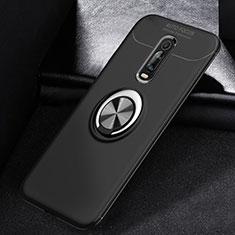 Silikon Hülle Handyhülle Ultra Dünn Schutzhülle Tasche Silikon mit Magnetisch Fingerring Ständer für Xiaomi Mi 9T Schwarz