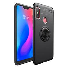 Silikon Hülle Handyhülle Ultra Dünn Schutzhülle Tasche Silikon mit Magnetisch Fingerring Ständer für Xiaomi Mi A2 Lite Schwarz