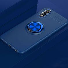 Silikon Hülle Handyhülle Ultra Dünn Schutzhülle Tasche Silikon mit Magnetisch Fingerring Ständer für Xiaomi Mi A3 Blau
