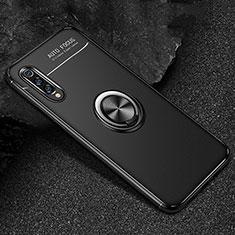 Silikon Hülle Handyhülle Ultra Dünn Schutzhülle Tasche Silikon mit Magnetisch Fingerring Ständer für Xiaomi Mi A3 Lite Schwarz