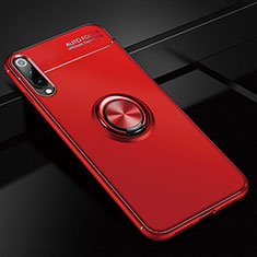 Silikon Hülle Handyhülle Ultra Dünn Schutzhülle Tasche Silikon mit Magnetisch Fingerring Ständer für Xiaomi Mi A3 Rot
