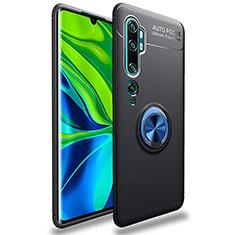 Silikon Hülle Handyhülle Ultra Dünn Schutzhülle Tasche Silikon mit Magnetisch Fingerring Ständer für Xiaomi Mi Note 10 Blau und Schwarz