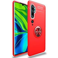 Silikon Hülle Handyhülle Ultra Dünn Schutzhülle Tasche Silikon mit Magnetisch Fingerring Ständer für Xiaomi Mi Note 10 Rot