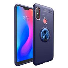 Silikon Hülle Handyhülle Ultra Dünn Schutzhülle Tasche Silikon mit Magnetisch Fingerring Ständer für Xiaomi Redmi 6 Pro Blau