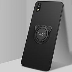 Silikon Hülle Handyhülle Ultra Dünn Schutzhülle Tasche Silikon mit Magnetisch Fingerring Ständer für Xiaomi Redmi 7A Schwarz