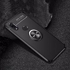 Silikon Hülle Handyhülle Ultra Dünn Schutzhülle Tasche Silikon mit Magnetisch Fingerring Ständer für Xiaomi Redmi Note 7 Pro Schwarz
