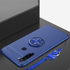 Silikon Hülle Handyhülle Ultra Dünn Schutzhülle Tasche Silikon mit Magnetisch Fingerring Ständer für Xiaomi Redmi Note 8 Blau