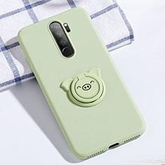 Silikon Hülle Handyhülle Ultra Dünn Schutzhülle Tasche Silikon mit Magnetisch Fingerring Ständer für Xiaomi Redmi Note 8 Pro Grün