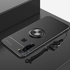 Silikon Hülle Handyhülle Ultra Dünn Schutzhülle Tasche Silikon mit Magnetisch Fingerring Ständer für Xiaomi Redmi Note 8 Schwarz