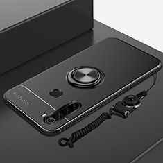 Silikon Hülle Handyhülle Ultra Dünn Schutzhülle Tasche Silikon mit Magnetisch Fingerring Ständer für Xiaomi Redmi Note 8T Schwarz
