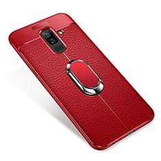 Silikon Hülle Handyhülle Ultra Dünn Schutzhülle Tasche Silikon mit Magnetisch Fingerring Ständer S01 für Samsung Galaxy A6 Plus (2018) Rot