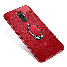 Silikon Hülle Handyhülle Ultra Dünn Schutzhülle Tasche Silikon mit Magnetisch Fingerring Ständer S01 für Samsung Galaxy A9 Star Lite Rot