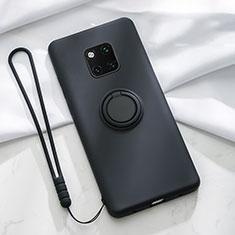 Silikon Hülle Handyhülle Ultra Dünn Schutzhülle Tasche Silikon mit Magnetisch Fingerring Ständer T01 für Huawei Mate 20 Pro Schwarz