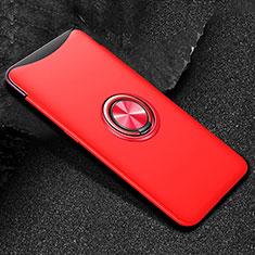 Silikon Hülle Handyhülle Ultra Dünn Schutzhülle Tasche Silikon mit Magnetisch Fingerring Ständer T01 für Oppo Find X Rot