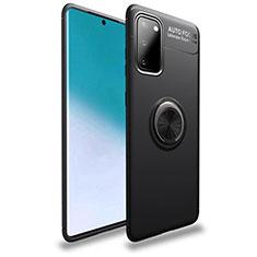 Silikon Hülle Handyhülle Ultra Dünn Schutzhülle Tasche Silikon mit Magnetisch Fingerring Ständer T01 für Samsung Galaxy S20 5G Schwarz