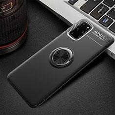Silikon Hülle Handyhülle Ultra Dünn Schutzhülle Tasche Silikon mit Magnetisch Fingerring Ständer T01 für Samsung Galaxy S20 Plus Schwarz