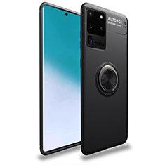 Silikon Hülle Handyhülle Ultra Dünn Schutzhülle Tasche Silikon mit Magnetisch Fingerring Ständer T01 für Samsung Galaxy S20 Ultra 5G Schwarz