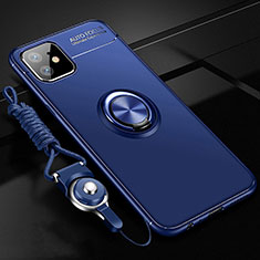 Silikon Hülle Handyhülle Ultra Dünn Schutzhülle Tasche Silikon mit Magnetisch Fingerring Ständer T02 für Apple iPhone 11 Blau