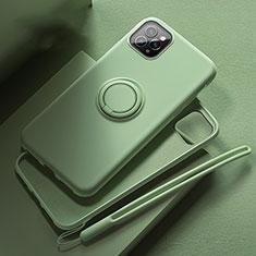Silikon Hülle Handyhülle Ultra Dünn Schutzhülle Tasche Silikon mit Magnetisch Fingerring Ständer T02 für Apple iPhone 11 Pro Max Grün