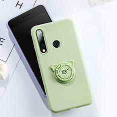 Silikon Hülle Handyhülle Ultra Dünn Schutzhülle Tasche Silikon mit Magnetisch Fingerring Ständer T02 für Huawei Honor 20 Lite Grün