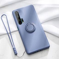 Silikon Hülle Handyhülle Ultra Dünn Schutzhülle Tasche Silikon mit Magnetisch Fingerring Ständer T02 für Huawei Honor 20 Pro Blau