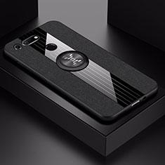 Silikon Hülle Handyhülle Ultra Dünn Schutzhülle Tasche Silikon mit Magnetisch Fingerring Ständer T02 für Huawei Honor View 20 Schwarz