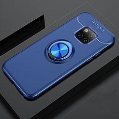 Silikon Hülle Handyhülle Ultra Dünn Schutzhülle Tasche Silikon mit Magnetisch Fingerring Ständer T02 für Huawei Mate 20 Pro Blau