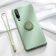 Silikon Hülle Handyhülle Ultra Dünn Schutzhülle Tasche Silikon mit Magnetisch Fingerring Ständer T02 für Huawei P30 Grün