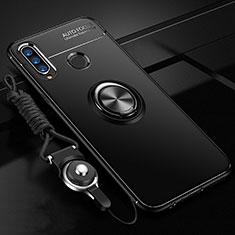 Silikon Hülle Handyhülle Ultra Dünn Schutzhülle Tasche Silikon mit Magnetisch Fingerring Ständer T02 für Huawei P30 Lite Schwarz