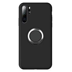 Silikon Hülle Handyhülle Ultra Dünn Schutzhülle Tasche Silikon mit Magnetisch Fingerring Ständer T02 für Huawei P30 Pro Schwarz